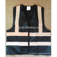 hi vis black reflective safety vest with zipper